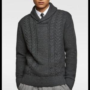 Zara Man Gray Cable Knit Pullover Sweater